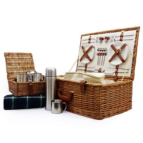 Deluxe Weiden Picknickkorb Ascot Für 4 Personen Mit Kühltasche Und Zubehör - Eine Charmante Geschenkidee Zum Geburtstag Hochzeit Ruhestand Jubiläum