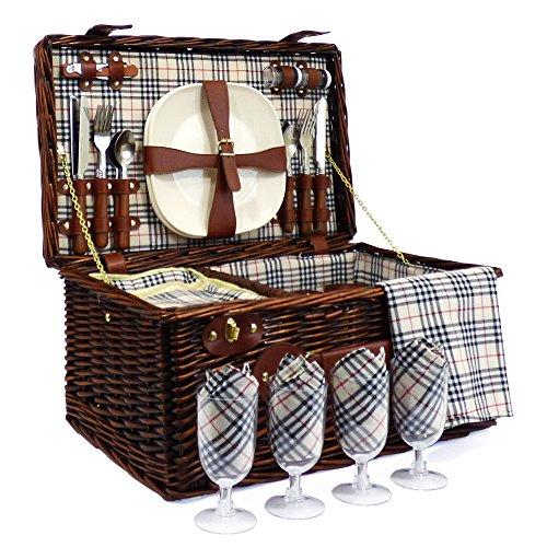 Deluxe Weiden Picknickkorb Bromley für 4 Personen Mit Integriertem Kühlfach - Die Ideale Geschenkidee zum Geburtstag Hochzeit Ruhestand