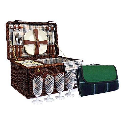 Deluxe Weiden Picknickkorb Bromley für 4 Personen Mit Integriertem Kühlfach Und Picknickdecke - Die Ideale Geschenkidee zum Geburtstag Hochzeit Ruhestand