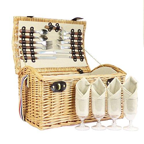 Der Deluxe Hadleigh Picknickkorb 4 personen - Perfektes Geschenk Zum Geburtstag Hochzeit Jahrestag