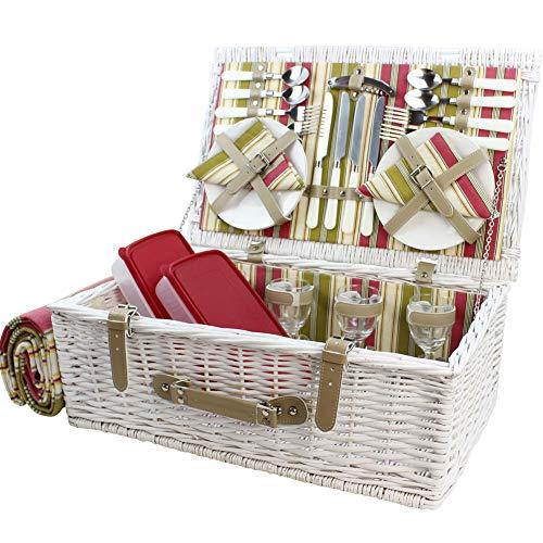 HappyPicknickkorb aus Weidenholz mit Deluxe-Service für 4 Personen weiß gewaschenes Weiden-Picknickkorb Picknick-Set mit Fleecedecke und Geschirr weiß gewaschen
