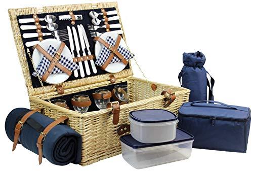 HappyPicnic Weiden-Picknickkorb mit Deluxe-Service für 4 Personen Picknickkorb aus Naturgeflecht Weidenpicknick-Set mit Speisenkühler Weinkühler Fleecedecke und Geschirr Dunkelblauer Cord