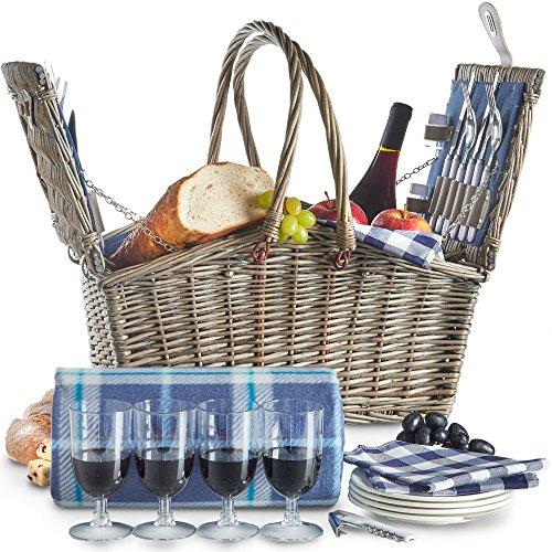VonShef Deluxe 4 Personen Weidenkorb Picknickkorb Einklappbarer Griff mit Besteck Tellern Gläsern Geschirr Vliesdecke