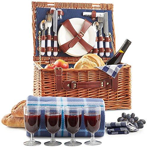 VonShef Klassischer Picknickkorb Deluxe mit Besteck Geschirr Gläsern Fleecedecke für 4 Personen