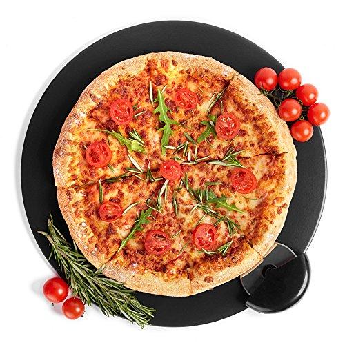 Kenley Pizzastein für Ofen Grill - Rund 38cm Pizza Stein aus Cordierit mit Pizzaroller Set - Brotbackstein Flammkuchenstein Backstein Steinplatte für Gasgrill Backofen
