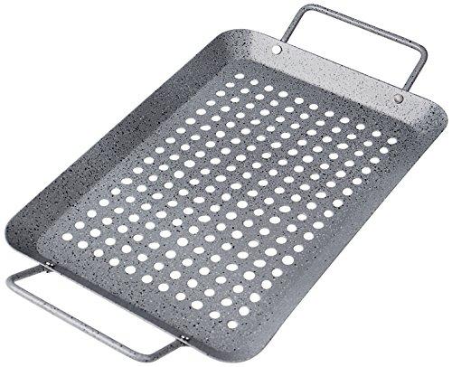 Rustler Grillschale rechteckig aus Eisenstahl mit Antihaftbeschichtung  Grillpfanne in Steinoptik  Grillkorb für Gemüse Fisch oder Meeresfrüchte  35 x 185 x 3 cm  für Backofen und alle Grills