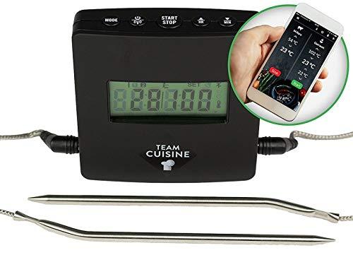 TEAM CUISINE Grillthermometer Bluetooth Bratenthermometer digitales Funk-Kernthermometer  ideal für Grill Smoker BBQ und Backofen  Überwachung per Smartphone  2 Fühler  viel Zubehör  schwarz