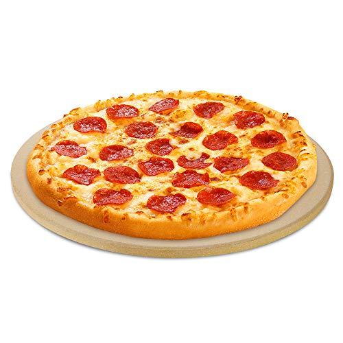 Unicook Rund Pizzastein 26 cm Ø Pizza Backsteine für Grill und Backofen Backofen-sicher bis 1450 Grad Wärmeschockfestigkeit ideal zum Backen von knuspriger Kruste-Pizza Brot Keksen und mehr