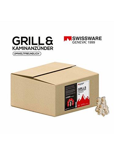 Swissware Geneva - Bio Anzünder aus Holzwolle und natürlichem Wachs - Kamin Ofen Grill Kohle Brennholz Anzündkamin Holz Anzünder 5 kg