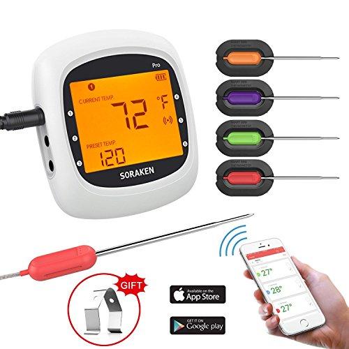 Grillthermometer Bluetooth Digital Wireless BBQ Thermometer Grill mit 4 Sonden Funk Thermometer Bratenthermometer Fleischthermometer Set für Küche Smoker Steak Unterstützt IOS Android