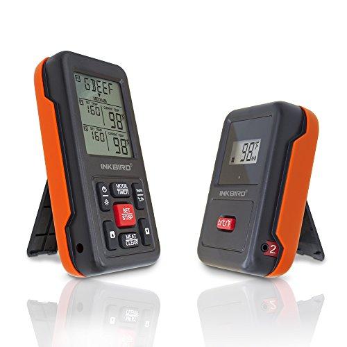 Inkbird IRF-2S Funk Thermometer Bratenthermometer Smoker mit 2 Temperaturfühlern für Fleisch Kochen von BBQ Ofen Raucher Backen Griller bis zu 300M