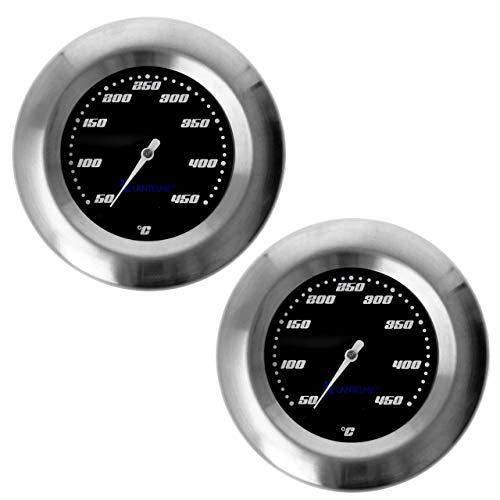 Lantelme 2 Stück Thermometer für GrillSmoker  RäucherofenGrillwagen AnalogBimetall  Edelstahl BBQ Grillzubehör Modell Racing Black Edition