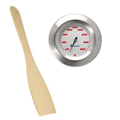 Lantelme Set Thermometer für GrillSmoker  RäucherofenGrillwagen und Grillzange Holz AnalogBimetall  Edelstahl BBQ Grillzubehör Modell Racing