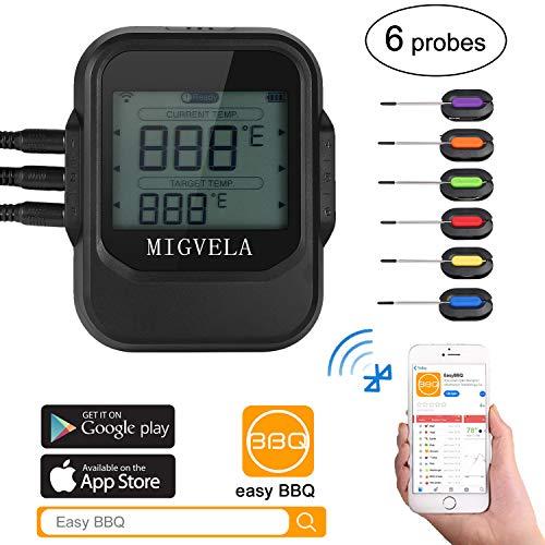 MIGVELA Grillthermometer Bluetooth mit 6 Fühlern Funk Digitales BBQ Thermometer für Grill Smoker Fleischthermometer mit APP Steuer mit 100ft Reichweite Temperature Alarm für Smoker Grill Backen