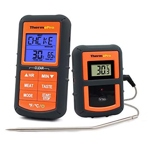 ThermoPro TP07 Barbecue Thermometer Funk Grillthermometer Bratenthermometer mit Timer für BBQ Ofen Smoker Reichweite bis zu 90 Meter
