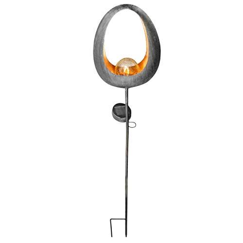 Alma Garden Solar LED GartenlaterneGartenfackel Fireball mit Stiel in Anthrazit Solarlampe Licht im Feuerball-Design Gartendeko und Wegbeleuchtung