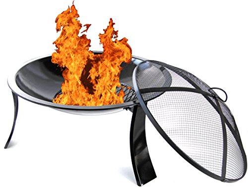 Nick and Ben XXL 61cm Feuer-Schale schwarz Feuer-Korb mit Funkengitter Garten-Kamin Pflanz-Schale Terrassen-Ofen Feuer-Stelle Grill-Feuer