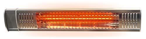 Gardigo Infrarot Heizstrahler für den Außenbereich  Garten Garage Terrasse Werkstatt  2000 Watt  Wandhalterung  Angenehme Wärme  Edelstahl - Aluminiumblende