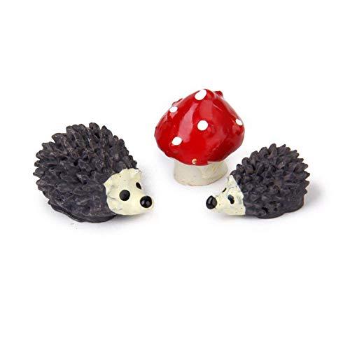 Xiton Miniatur-Gartenfee-Ornament Blumentopf Blumentopf Heimdeko Igel und Pilz Set