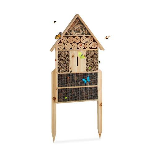Relaxdays Insektenhotel XL stehend Nisthilfe für Bienen Florfliegen Marienkäfer Holz HxBxT 79 x 49 x 12 cm natur