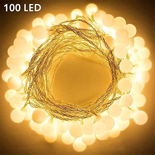 100 Leds Globe Lichterkette WarmweißNashaira Innen und Außen Deko Glühbirne Lichterkette IP44 Wasserdicht für Party Garten Weihnachten Halloween Hochzeit Beleuchtung Deko Wohnzimmer