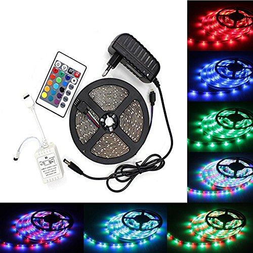 LED Strip Licht Streifen 5m Band Leiste mit 300 LEDs SMD 3528 inkl Netzteil Fernbedienung