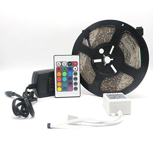 Vansuky LED Strip┃LED Streifen 5 Meter Band Leiste mit 300 LEDs SMD 3528 inkl wasserdicht IP65einschließen netzteil fernbedienung Bunte Fernbedienung RGB