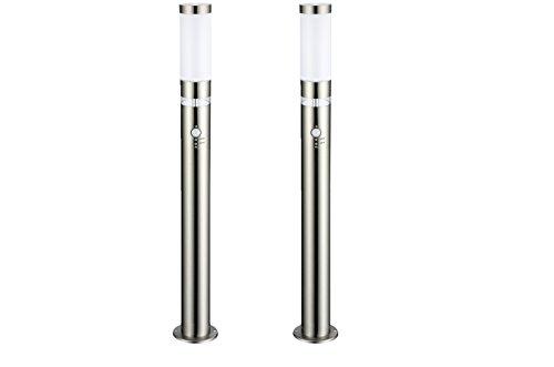 2 x LED Außen-Leuchte Stehleuchte Lisa Höhe 1m Hauptlicht E27 mit Bewegungsmelder LED Ring als Grundlicht Außen-Lampe Wege-Leuchte hochwertig