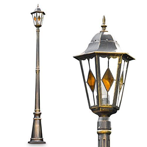 Kandelaber Wegeleuchte Antibes Retro Außenbeleuchtung 1-flammig Außenstehleuchte aus Aluguss in Braun-Gold Stehleuchte LED-fähig im Vintage-Design Laterne 210cm hoch E27-Fassung max 60 Watt