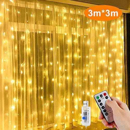LED LichtervorhangNasharia 300LEDs Lichterkette Vorhang Licht 3Mx3M IP65 Wasserfest 8 Leuchtmodi LED Lichterketten mit Fernbedienung für Weihnachten Party Hochzeit Garten Schlafzimmer Deko