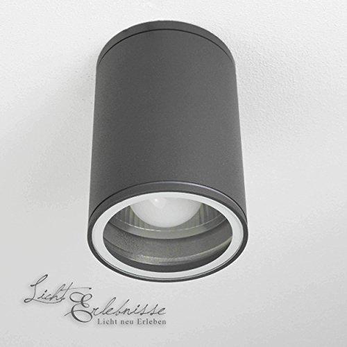 Moderne Deckenleuchte in anthrazit inkl 1x 12W E27 LED 230V Deckenlampe aus Aluminium Glas für GartenTerrasse Garten Weg Terrasse Lampe Leuchten außen