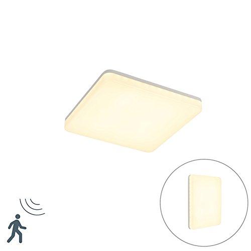 QAZQA Modern Moderne quadratische Außen DeckenleuchteDeckenlampeLampeLeuchte weiß inkl LED mit Bewegungsmelder - PlaterAußenbeleuchtung Kunststoff Quadratisch  nicht austauschbare LED