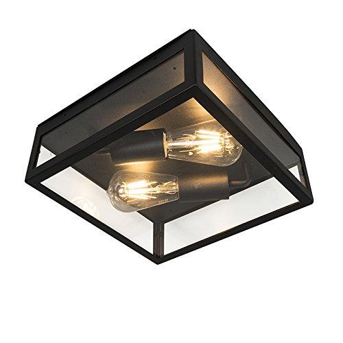 QAZQA Modern Moderne quadratische AußenDeckenleuchteDeckenlampeLampeLeuchte zweiflammig schwarz - Edam 1  Außenbeleuchtung Edelstahl Quadratisch LED geeignet E27 Max 2 x 60 Watt
