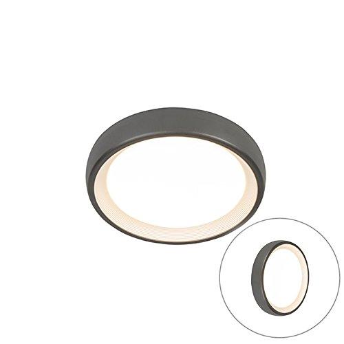QAZQA Modern Moderne runde AußenDeckenleuchteDeckenlampeLampeLeuchte dunkelgrau inkl LED - GinnyAußenbeleuchtung Kunststoff Rund  nicht austauschbare LED Max 1 x 13 Watt