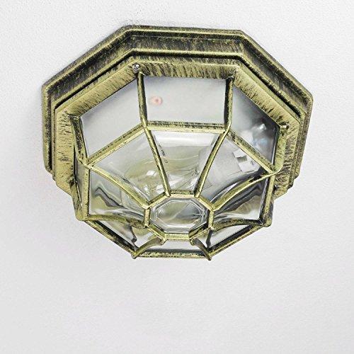 Rustikale Deckenleuchte in antikgold inkl 1x 12W E27 LED 230V Deckenlampe aus Aluminium Glas für GartenTerrasse Garten Weg Terrasse Lampe Leuchten außen