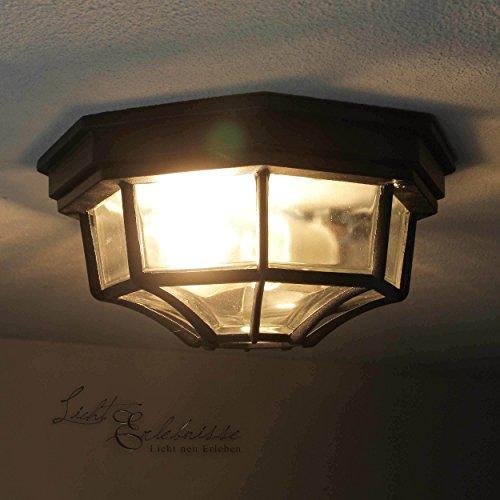 Rustikale Deckenleuchte in schwarz inkl 1x 12W E27 LED 230V Deckenlampe aus Aluminium Glas für GartenTerrasse Weg Terrasse Lampe Leuchten außen Beleuchtung