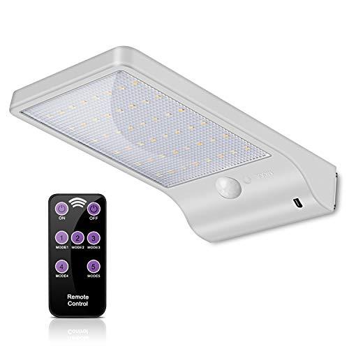 ECHTPower 48 LED Solarleuchte Garten Solarlampe Aussenleuchte Wandleuchte dimmbar mit Bewegungsmelder Kabellos IP65 Wasserdicht Wegleuchte für Tür Flur Patio Zaun Außen450 Lumen 2700K-6000K