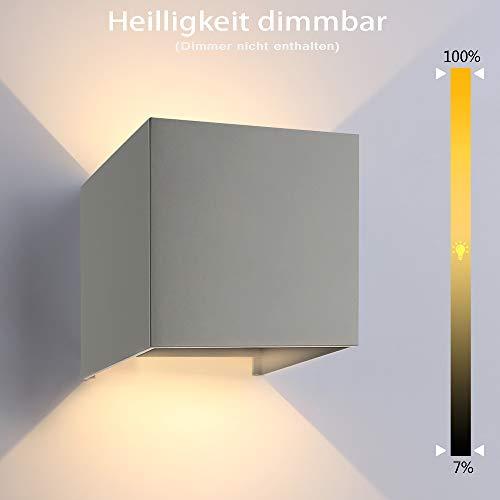 ETiME 13W LED Wandleuchte außen dimmbar Wandlampe Wasserdicht mit einstellbar Abstrahlwinkel IP65 LED Wandbeleuchtung Außenlicht Grau 13W Dimmbar warmweiß