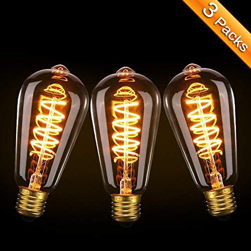 Vintage Edison Glühbirne Elfeland 3x E27 LED Retro Lampe Soft Spiral Filament Dekorative Glühbirne 3W Ersetzt 25 Watt 180LM 2200K Dimmbar 85-220V Modell ST64