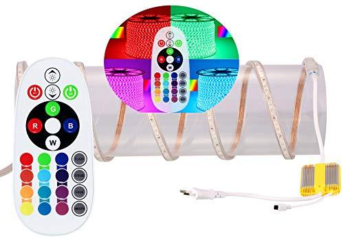 3-50m Ogeled 230V RGB LED 60 leds Strip Streife leiste ip65 mit Kontroller Dimmer FB 18M