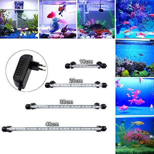DOCEAN 48W 38cm LED Aquarium Beleuchtung Aquarium Lampe Aquariumleuchte IP68 Wasserdicht Unterwasserleuchte Weiß  Blau Licht