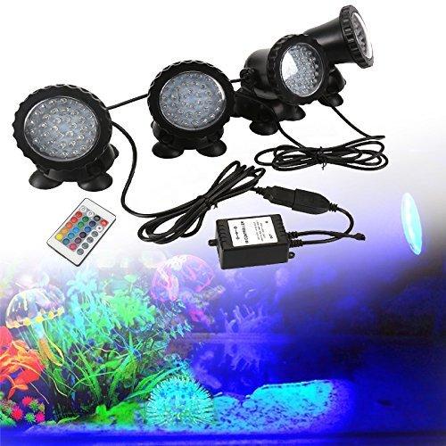 GreenSun LED Lighting Spot Lampe Unterwasser RGB Aquarium Beleuchtung Aufsatz leuchte Aquariumlampe 36LEDs Strahler Teichlampe Teichstrahler Teichlampen Dekorative für Fisch Tank Aquarium 4 Stücke in 1 Set