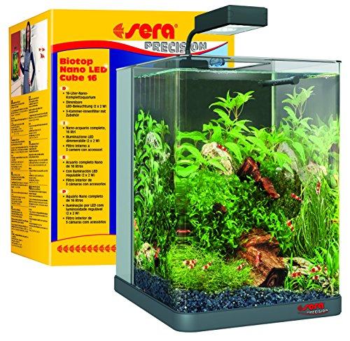 sera 31066 Biotop Nano LED Cube 16 l - ein Aquarium aus Glas mit LED Beleuchtung und 3-Kammer-Innenfilter - ein Komplett-Set für Garnelen Krebse und Kampffisch