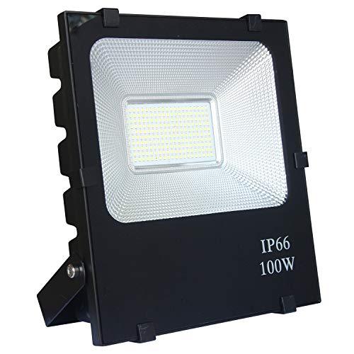AUFUN 100W LED fluter scheinwerfer kaltweiß - LED außenstrahler sicherheitsleuchte schwarz wasserdicht IP66 100W kaltweiß