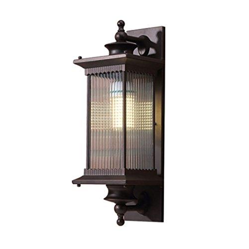 Vintage Außen-Wandleuchten Wandlampe Aussen Braun Aluminium Glas Lampenschirm E27 Wasserdichte Wandlichter IP44 Außenwand Lampe für Fassaden Terrasse Balkon Garten58  20  28CM