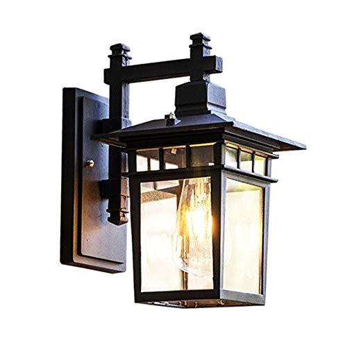 Vintage Gartenlampe Außen-Wandleuchte Schwarz Aluminium Retro Rustikal Wandlampe Aussen mit Glas Lampenschirm Antik Aussenleuchten E27 Licht Wasserdichte IP44 Design Patio Foyer Balkon 18  24  34CM