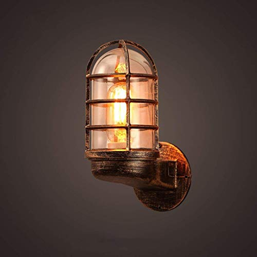 WHKHY Retro Wandleuchte Loft Eisen Lampenschirm Glas Internet Cafés Cafe Walk Explosionsschutz Korridor Wandleuchte Einzigen Kopf E 27 10  20 cm 10  20 cm