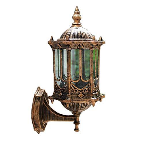 Wasserdichter Wandleuchte Retro Innenbe und Außen Wand-Beleuchtung Antik Rustikal Stil Wandlampe Klassische Schmiedeeisen Terrasse Gang Sconce 1-Flammig E27-Fassung Glas Lampenschirm Bronze