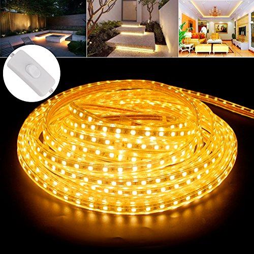 2M 230V LED Streifen Lichtband Warmweiß 5050 SMD IP65 LED Band mit Schalter und Stecker für den Innen- und Außenbereich Warmweiß