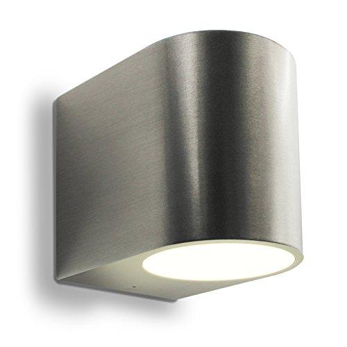 LED Wandleuchte Außenleuchte 1-Flammig Aluminium UpDown Edelstahl gebürstet GU10-230V FormG Warmweiß